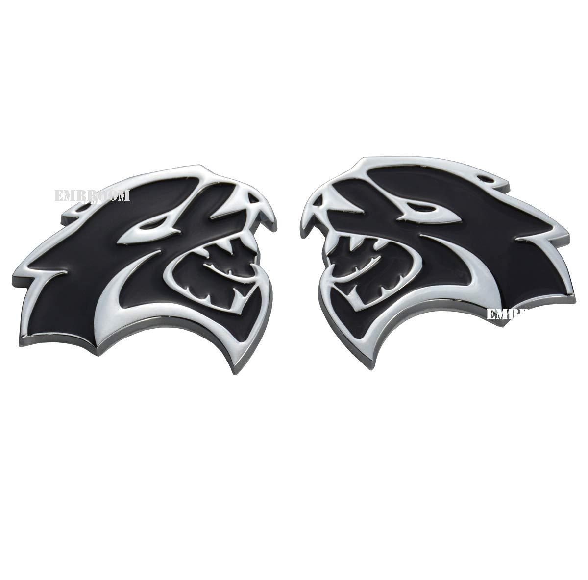 2pcs Hellcat Metal Side Badge Emblems 3D Logo Nameplate Stickers Decals Compatible for Chrysler Dodge Challenger Charger SRT Black