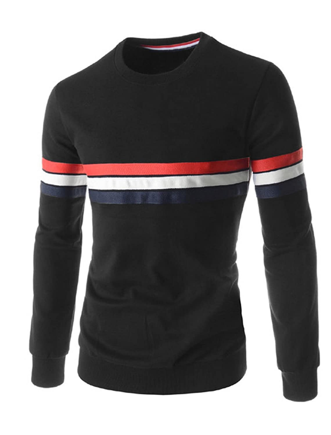 Men Stripes Design Stitching Ribbed Trim Long Sleeves T-shirt