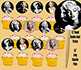 Party Over Here Marilyn Monroe Cupcake Picks Cake Topper Blonde Bombshell Norma Jeane - 12 pcs