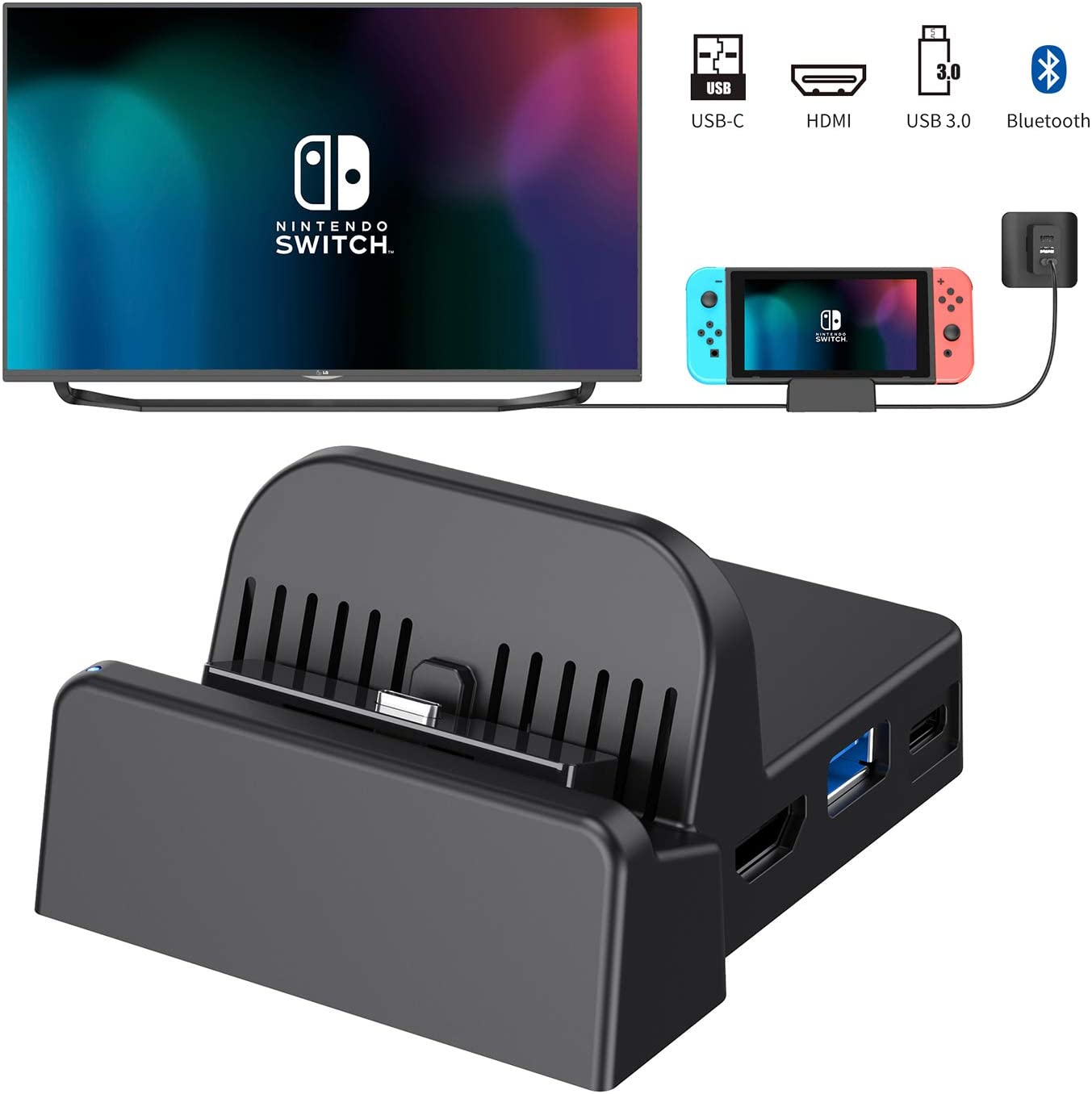 OLCLSS Nintendo Switch Dock with Bluetooth Adjustable Switch Docking Station with Type-C Input Interface Mini HDMI Video Conversion Dock Base with LED Indicator for Nintendo Switch Host: Amazon.es: Electrónica