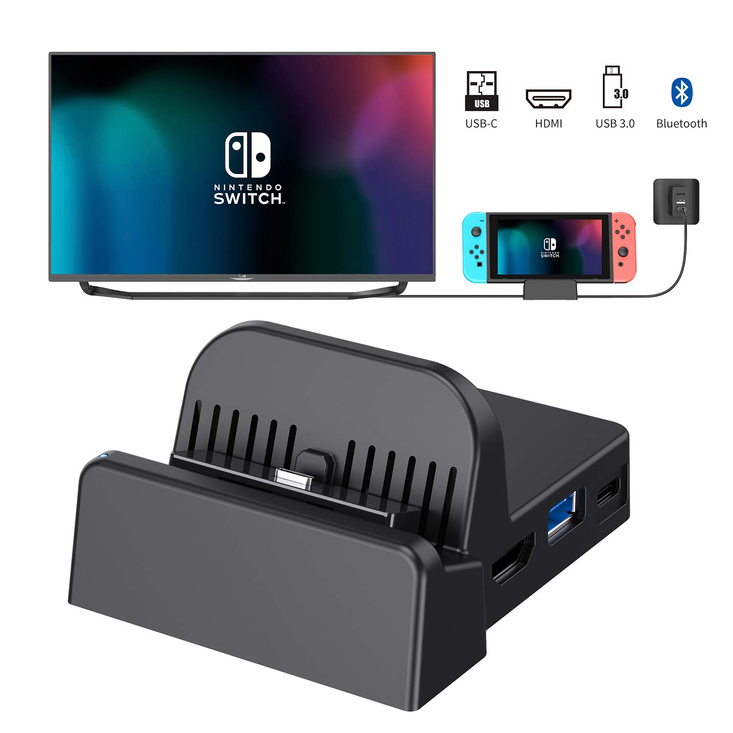OLCLSS Portable Switch Dock with Bluetooth Adjustable Switch Docking Station with Type-C Input Interface Mini HDMI Video Conversion Dock Base with LED Indicator for Nintendo Switch Host