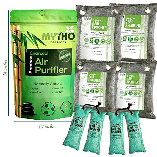 - All Natural 100% MOSO BAMBOO CHARCOAL Air Purifier & Odor Removal. Non-Toxic, Fragrance & Chemical Free. Activated Carbon Bags PREVENT MOLD, MILDEW & MOISTURE. Set of 8 Bags (various shapes & sizes)