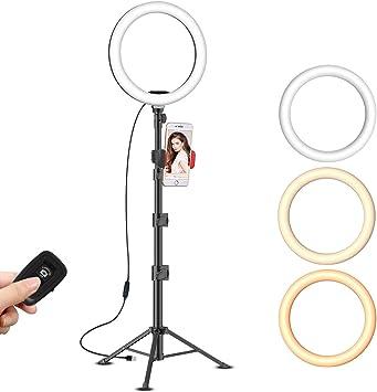 Compatible con iPhone//Android USB Cargador SUNUP Anillo de Luz LED para M/óvil Selfie TikTok Youtube 10 Aro de Luz con Tripode Extensible 50 y Soporte Tel/éfono Flexible para Maquillaje//Instagram