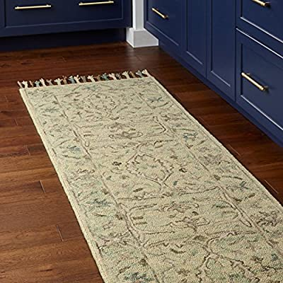 """Amazon Brand – Stone & Beam Serene Tassled Wool Runner Rug, 2' 6"""" x 8', Multi - 80% Wool 20% Cotton Imported Delicate details of beige and blue accent this neutral runner. Its soft, soothing wool lends comfort and an elegant anchor to any traditional, transitional or contemporary room. - runner-rugs, entryway-furniture-decor, entryway-laundry-room - 61QOgigEq3L. SS400  -"""