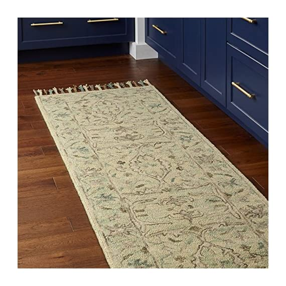 """Amazon Brand – Stone & Beam Serene Tassled Wool Runner Rug, 2' 6"""" x 8', Multi - 80% Wool 20% Cotton Imported Delicate details of beige and blue accent this neutral runner. Its soft, soothing wool lends comfort and an elegant anchor to any traditional, transitional or contemporary room. - runner-rugs, entryway-furniture-decor, entryway-laundry-room - 61QOgigEq3L. SS570  -"""