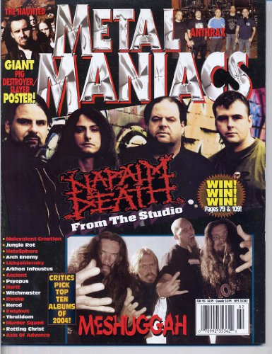 Metal Maniacs Magazine NAPALM DEATH Meshuggah PIG DESTROYER & SLAYER GIANT 4 PAGE POSTER Anthrax THE HAUNTED February 2005 C (Metal Maniacs Magazine) (Destroyer Pin)