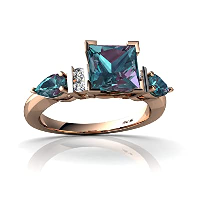 14kt rose gold lab alexandrite and diamond 5x3mm pear engagment ring size 4 - Alexandrite Wedding Ring