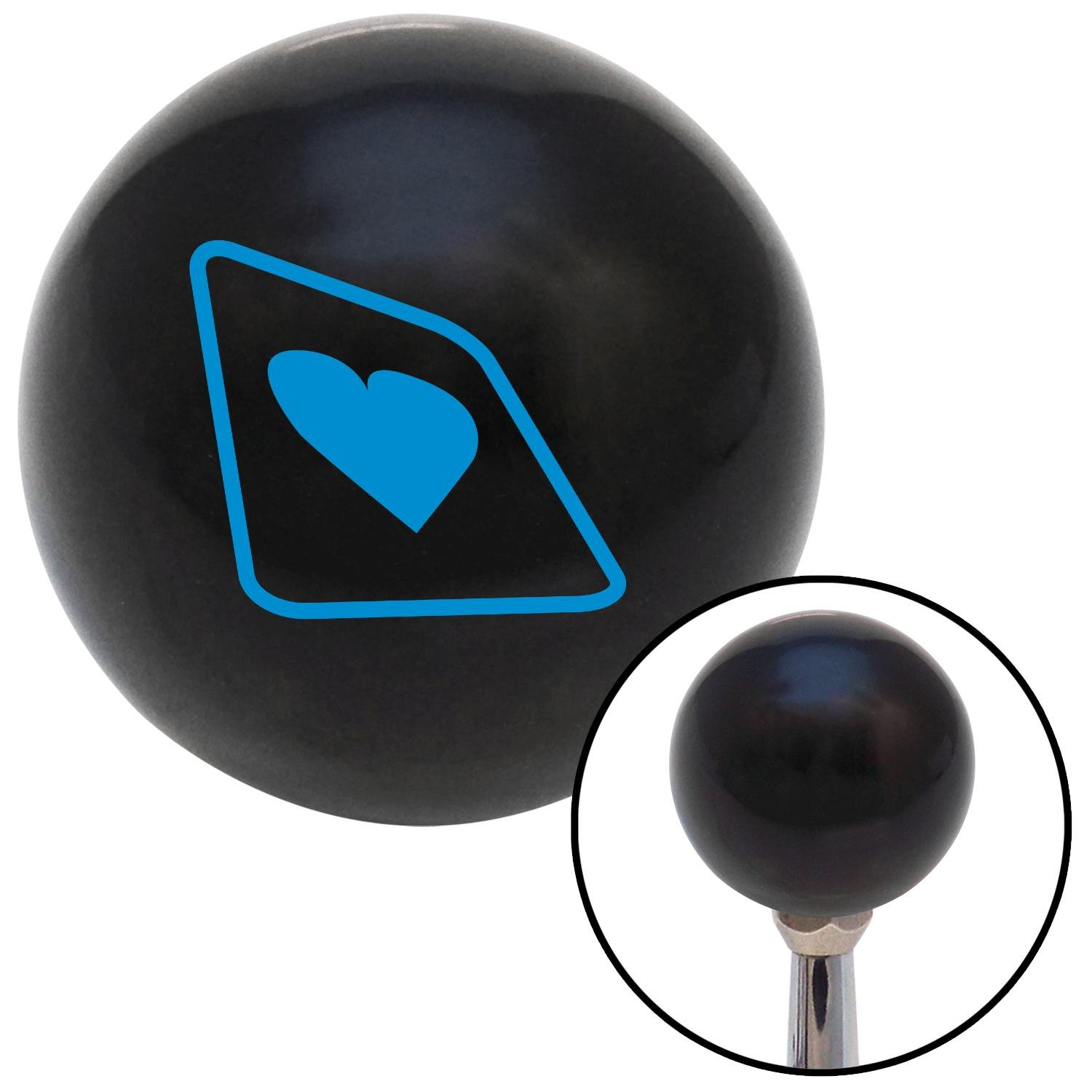 American Shifter 104233 Black Shift Knob with M16 x 1.5 Insert Blue Heart on a Card