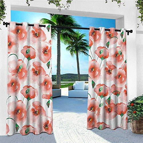 leinuoyi Flower, Outdoor Curtain Set of 2 Panels, Poppies Pattern Twigs Bouquet Ornament Soft Color Classic Design Artwork, for Patio W120 x L96 Inch Scarlet and Green