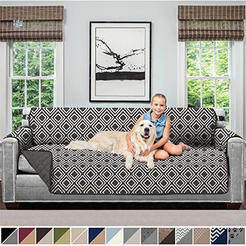 Sofa Shield Original Patent Pending Reversible X-Large Oversized Sofa Protector for Seat Width up to 78 Inch, Furniture Slipcover, 2 Inch Strap, Couch Slip Cover Throw for Dogs, Sofa, Diamond Charcoal (Best Way To Clean Microfiber Furniture)