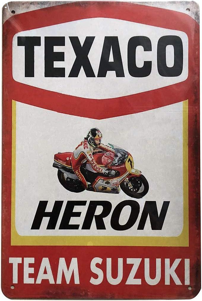 PEIs Lot de 5 pancartes r/étro Vintage en /étain Homme 20 x 30 cm Shell Michelin Texaco Champion Castrol en m/étal pour Garage Cave Bar
