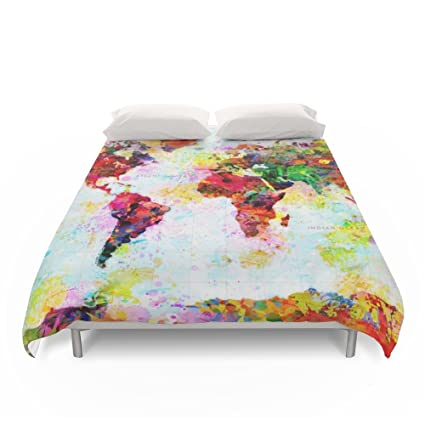 Amazon.com: Society6 Abstract World Splatter Map Duvet Covers Queen ...