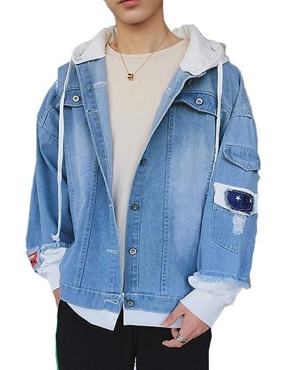 Runyue Chaquetas Vaqueras para Hombre Jeans Jacket Chaqueta ...