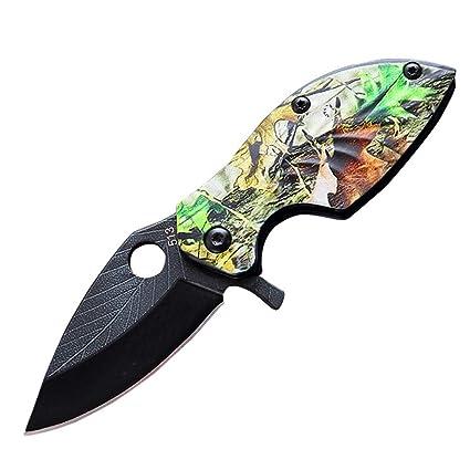 Faviye Cuchillo de Bolsillo de Acero Inoxidable Hoja patrón Cuchillo Plegable con Llavero para Acampar al Aire Libre Viajes