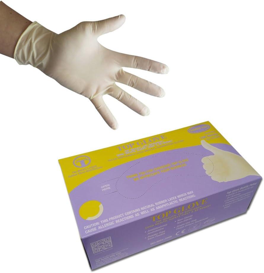 color blanco pack de 100 Guantes desechables de l/átex sin polvo de calidad CW054//M tama/ño mediano//8 100/unidades