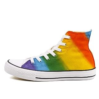 High Top Canvas Shoes Sneakers Rainbow Shoes Women Men Colorful Hand Paint Casual Flat (8 Women / 6.5 Men /CN40, Z105c)
