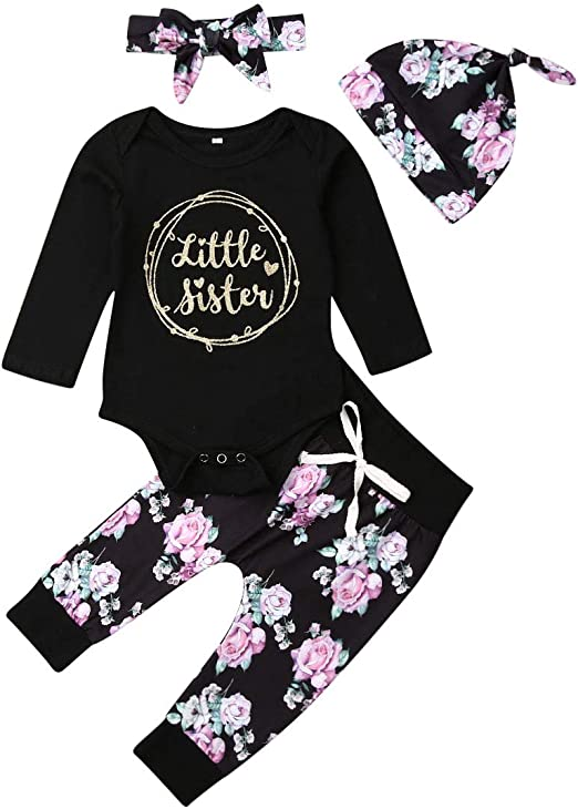 Baby Girl Clothes Set Little Sister Romper Top and Rose Printed Pant and Headband 3 Pieces Outfit