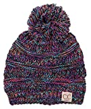 H-6847-816k.0608 Girls Winter Hat Warm Knit Slouchy Kids Beanie Pom - Kaleidoscope