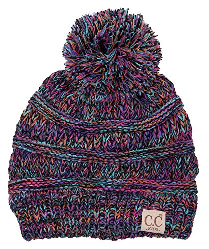 H-6847-816k.0608 Girls Winter Hat Warm Knit Slouchy Kids Beanie Pom - Kaleidoscope by Funky Junque