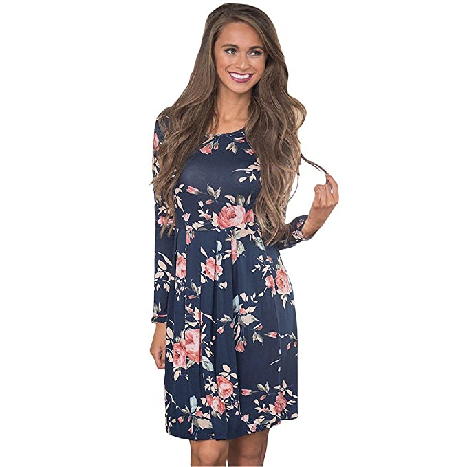 c8462883623 Vruan Floral Dresses for Women Long Sleeve A-line Pleated Casual Dresses  Swing Tunic T-Shirt Dresses for Women 6 Colour Size 8-18  Amazon.co.uk   Clothing