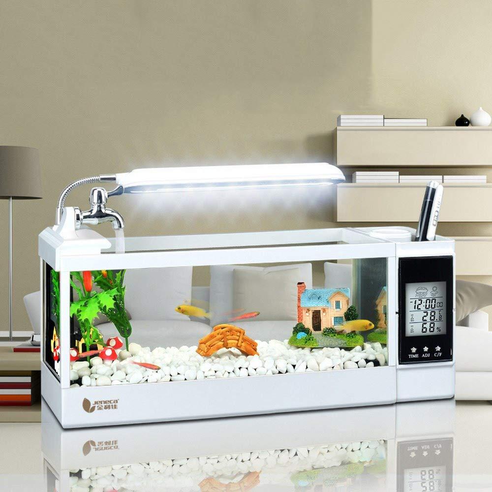 WXJHA Mini Fish Aquarium Tank,Desktop Aquarium,Home Fish Tank Aquarium Decoration,Relaxing Mood Aquarium Starter Kit with Base by WXJHA