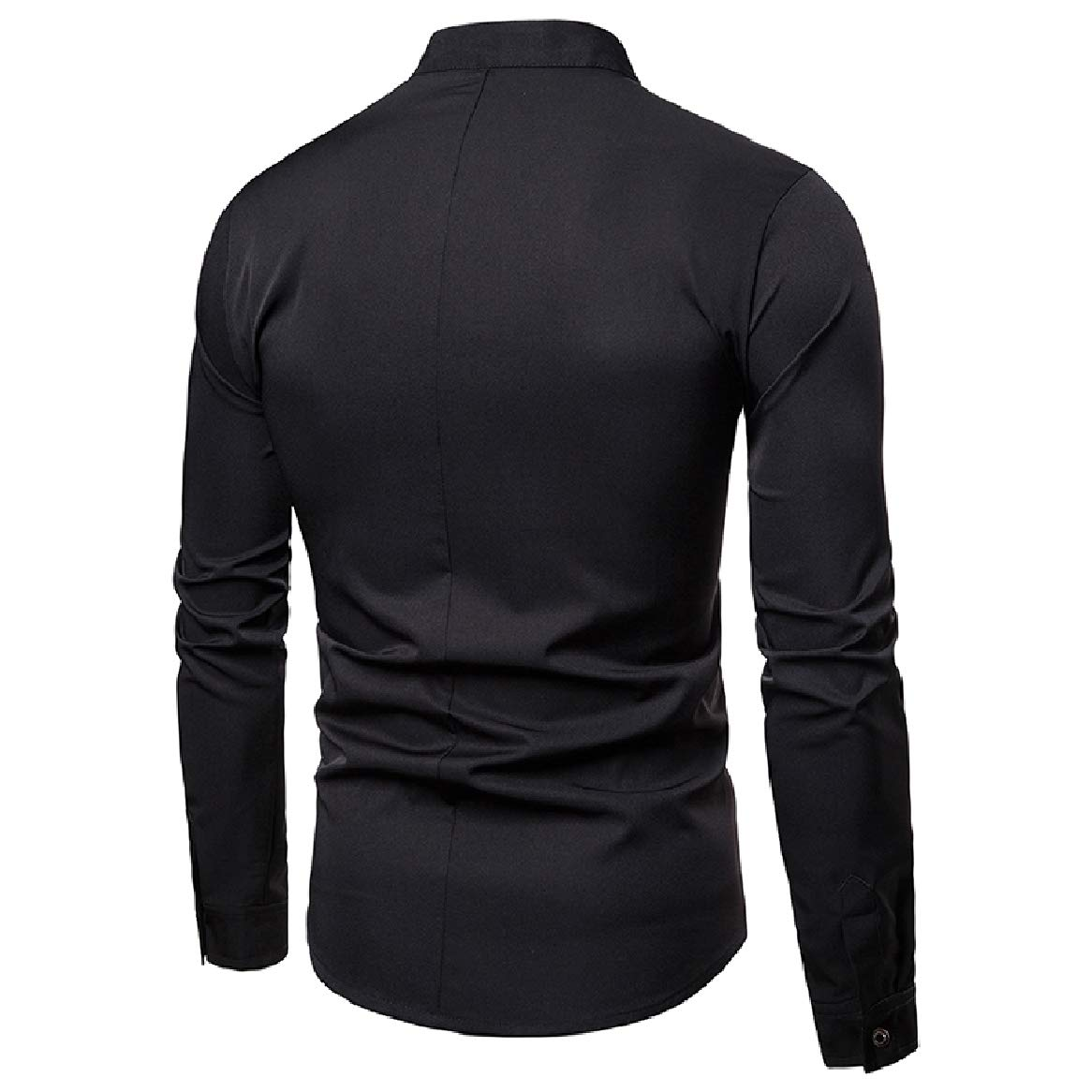 SportsX Mens Stand Collar Pure Long-Sleeve Buttons Stylish Shirts