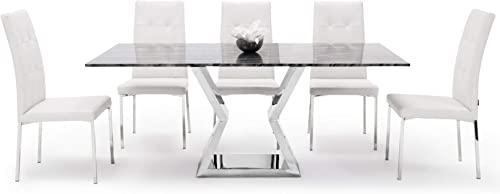 Modern Grigio 71 Inch Dining Table with Gray Marble Top and Polished Stainless Base