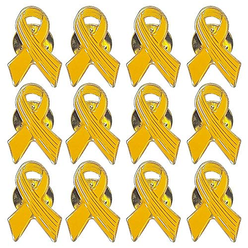 Closeoutservices Yellow Awareness Ribbon Lapel Pins, Cancer Awareness Hope Ribbon Pin - Enamel on Gold Tone Metal - Lot of ()