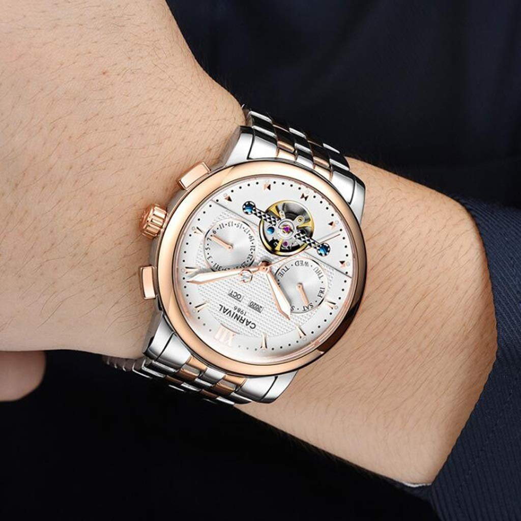 CARNIVAL Herrklocka, Tourbillon automatiska mekaniska klockor mode vattenmotstånd lysande multifunktion armbandsur 8722G Steel Strap - Gold White