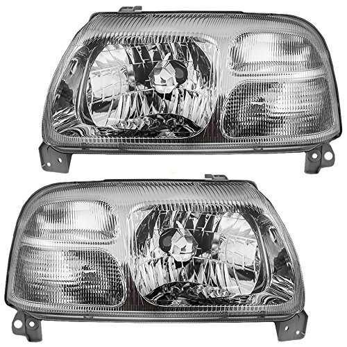Pair Set Halogen Combination Headlights Headlamps w/Chrome Bezel Replacement fits Suzuki Grand Vitara XL-7 & Vitara 3532065D01 3512065D01