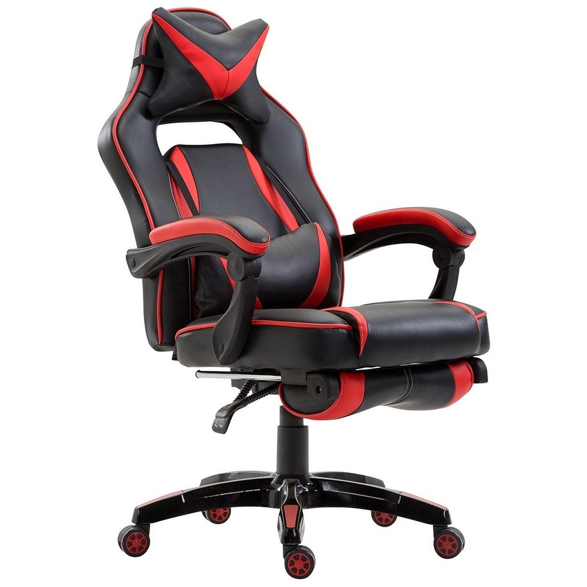 Delman XXL Racing B/ürostuhl Schreibtischstuhl Gaming Chair Drehstuhl H/öhenverstellbar mit Fu/ßst/ütze Fu/ßablage mit Armlehnen Chefsessel Gro/ße Sitzfl/äche Dicke Polsterung 11 cm RS0019BU
