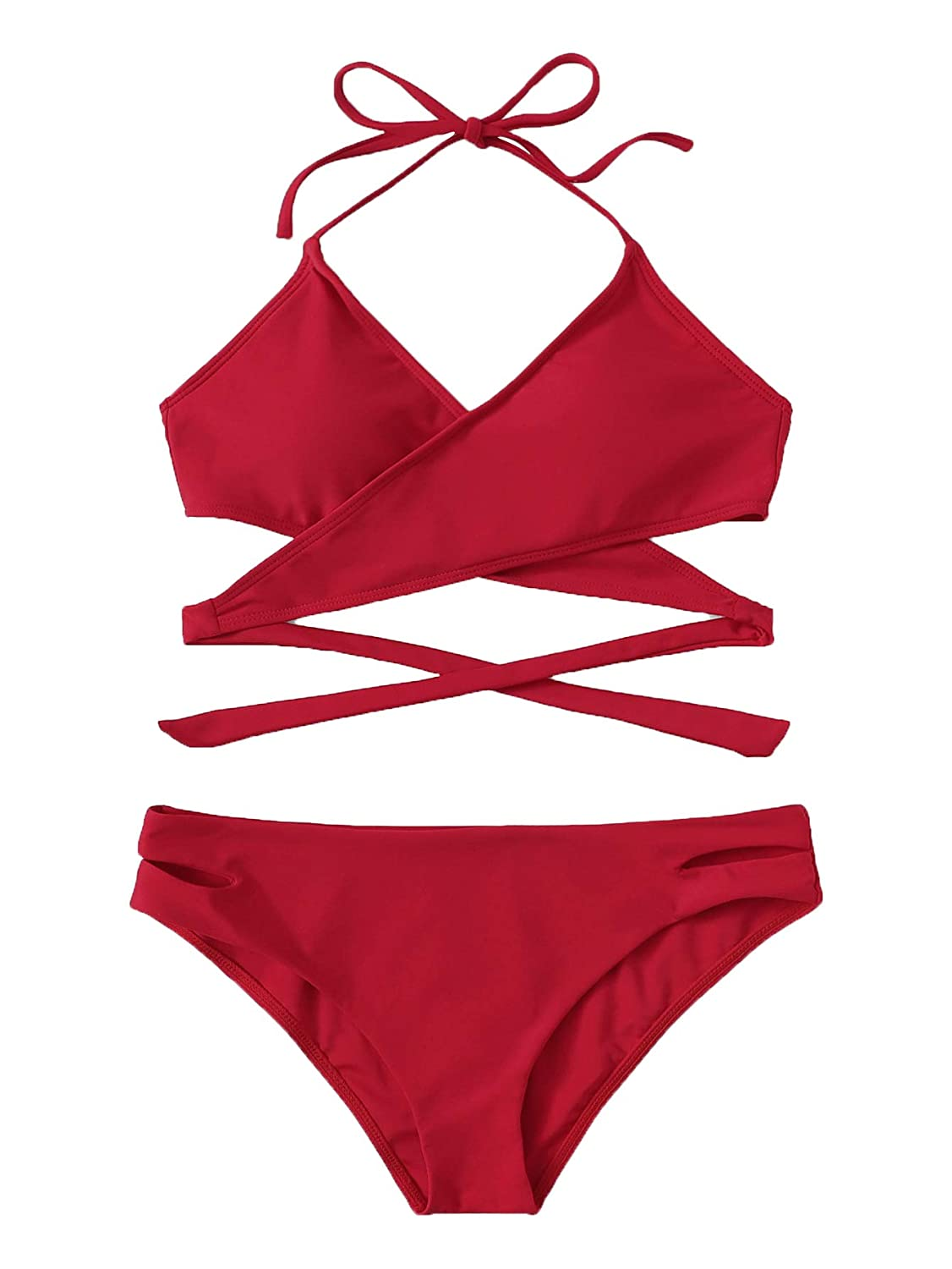 Red SOLY HUX Womens Sexy Padded Two Piece Floral Halter Wrap Knotted Back Bikini Set