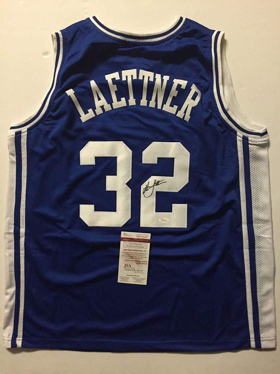 Autographed/Signed Christian Laettner Duke Blue Devils Blue Basketball Jersey JSA COA