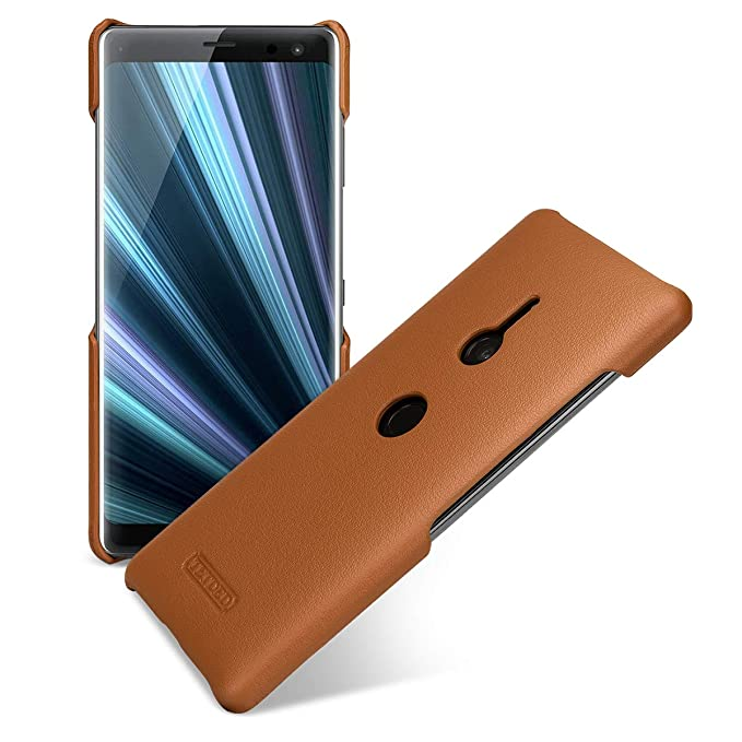reputable site 50d59 c3cdc TETDED Premium Leather Case for Sony Xperia XZ3, Snap Cover (Nappa Brown)