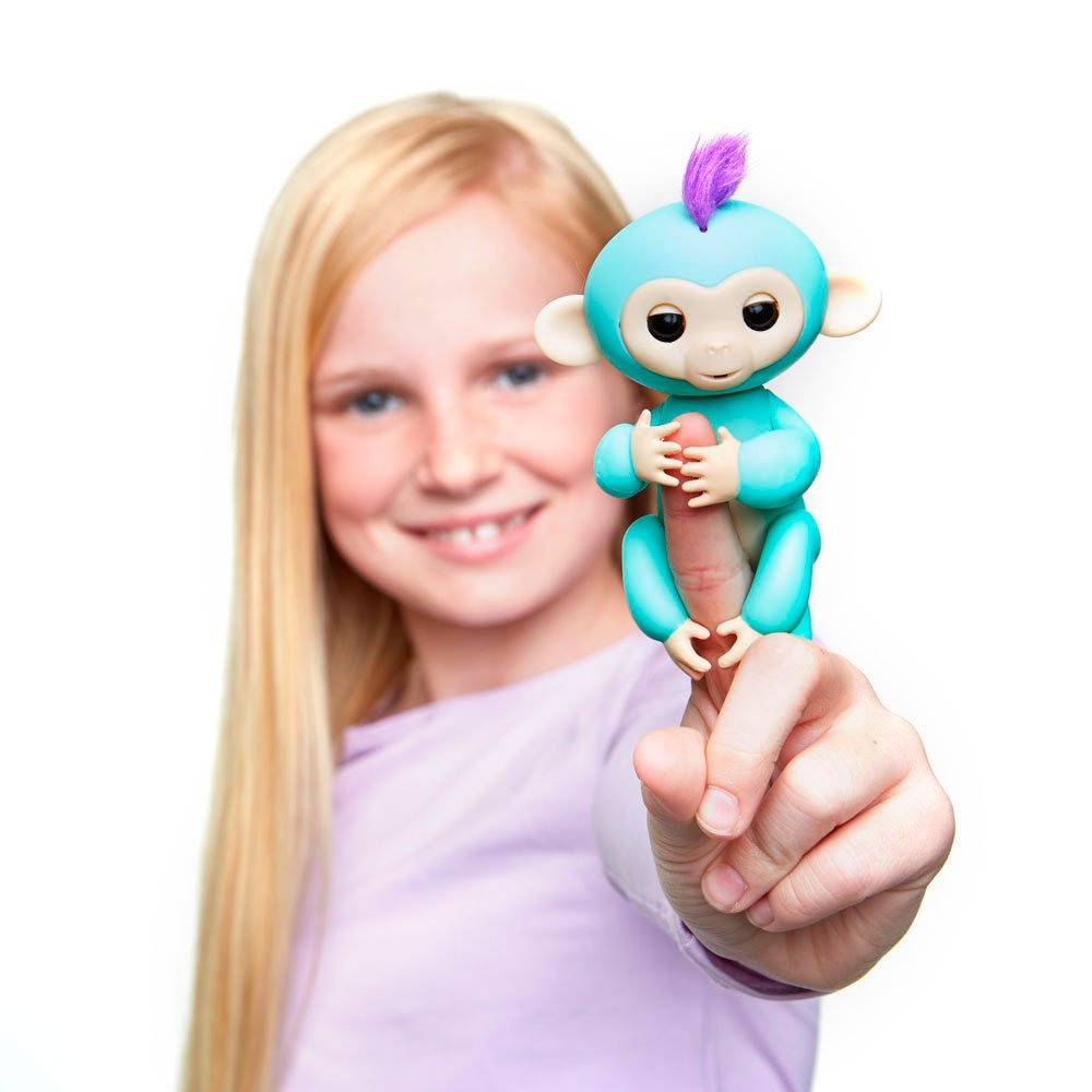 Fingerlings - Interactive Baby Monkey - Zoe (Turquoise with Purple Hair) By WowWee by WowWee (Image #5)