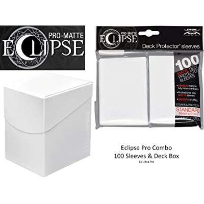 Arctic White Deck Protector & Deck Box Combo (100 Count) for MTG Pro-Matte Eclipse by Ultra Pro: Toys & Games