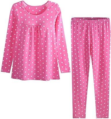 Dos Piezas Mujer Lunares Pijamas Mujer Manga Larga Elastische ...