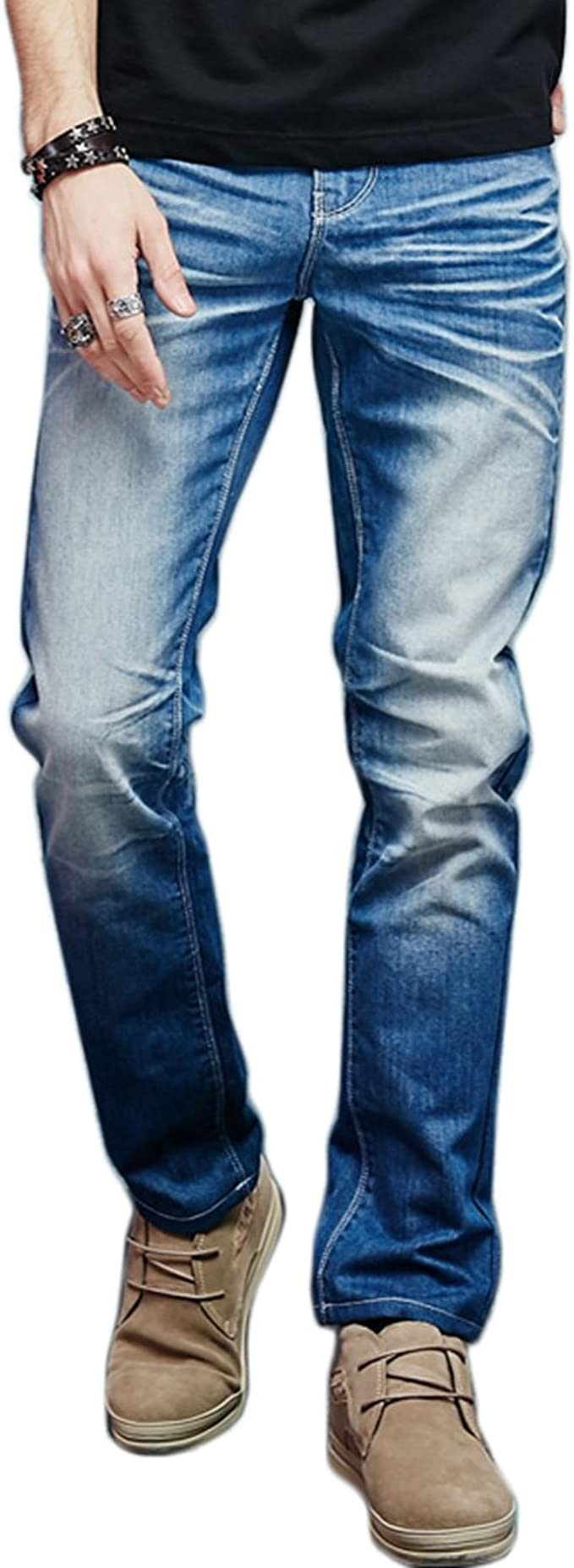 Liveinu Mens Jeans Straight Leg Stretch Denim Jean Blue