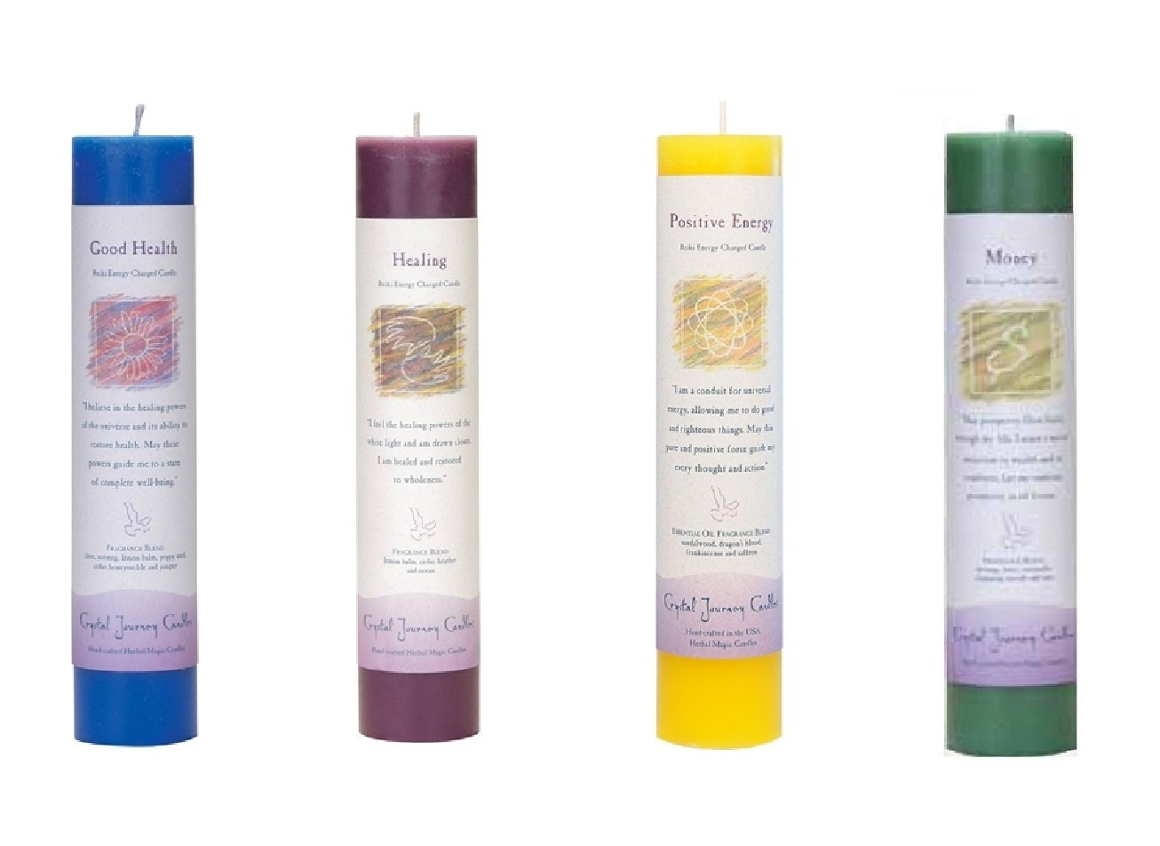 Crystal Journey Reiki Charged Herbal Magic Pillar Candle with Inspirational Labels - Bundle of 4 (Good Health, Healing, Positive Energy, Money) Each 7''x1.5'' handcrafted with lead-free materials