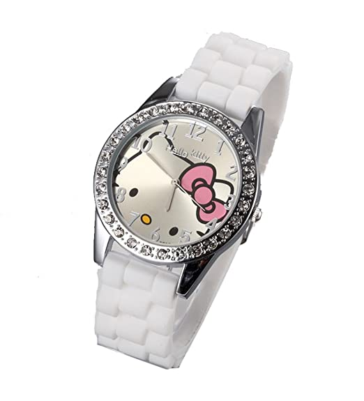 Cartoon Watches Women Silicone Jelly Children Girls Dress Quartz Wristwatch Kids Hellokitty Watches (White)