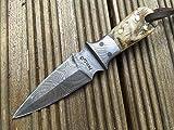 Handmade Damascus Hunting Knife – Neck Knife with sheath