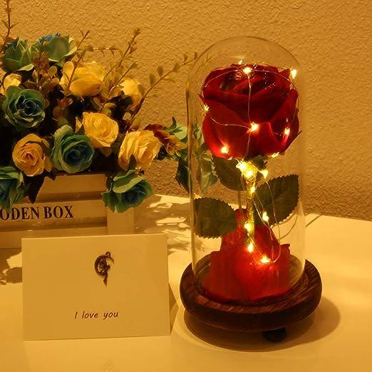 Amazon.com: Rosa de la Bella y la Bestia, rosa de seda roja ...