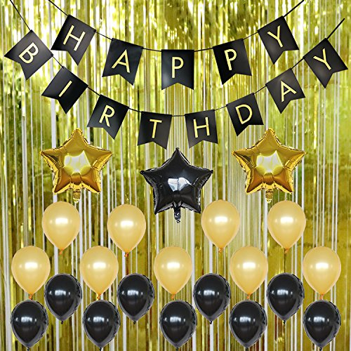 LUCKDAYL Birthday Party Supplies Decoration Kit, Happy Birthday Banner, Metallic Gold Foil Fringe Shiny Curtains, Latex & Star Foil Balloons, Decoration for Photo Backdrop (Size 3) -