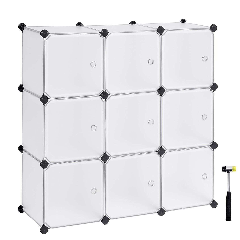 con Ante Bianche SONGMICS Scaffale Portaoggetti Modulare Fai da Te con 9 Cubi Mobile in Plastica di qualit/à Stabile e Facile da Montare LPC116WS Guardaroba