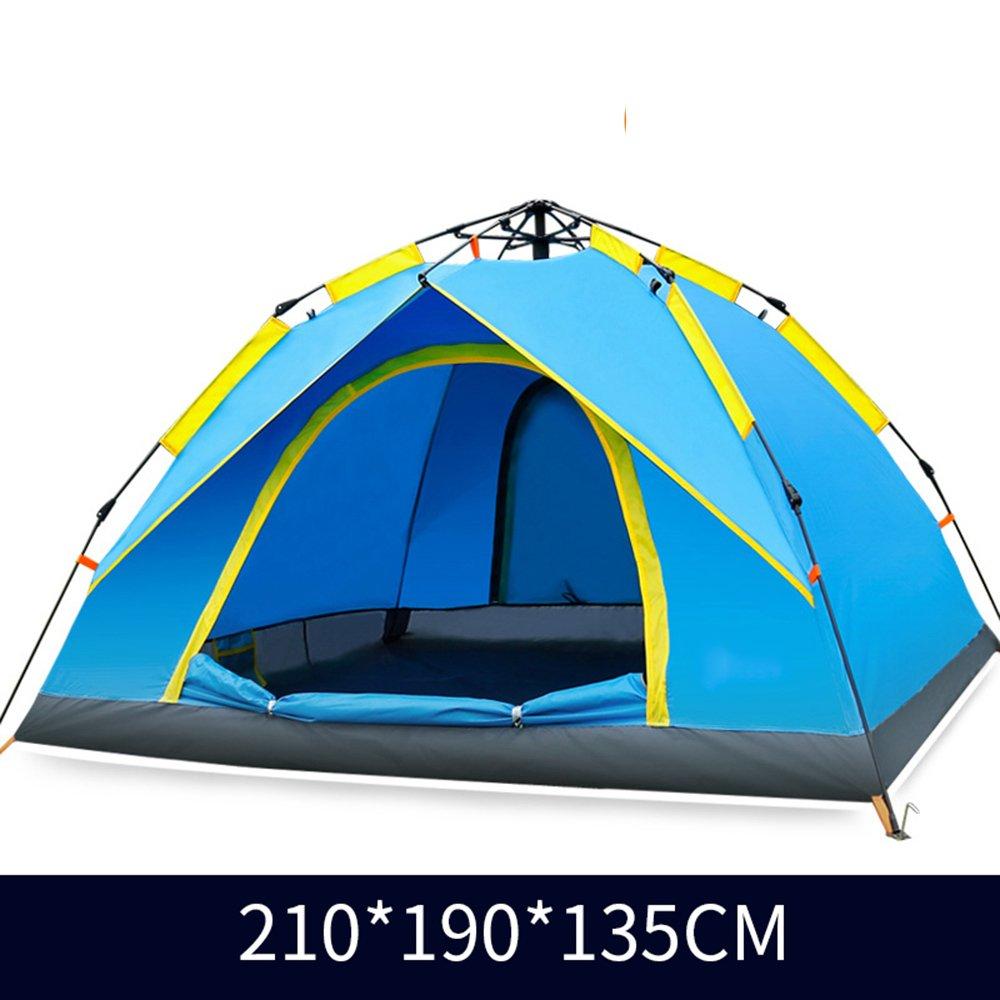 QFFL zhangpeng テントダブル自動日保護雨屋外テント3-4人テントファミリーキャンプキャンプテント2色オプション トンネルテント (色 : 青)  青 B07C4SXHQD