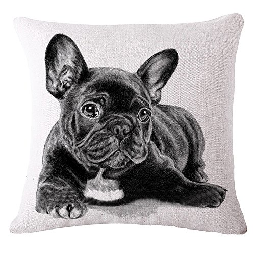 SYH003 Decorative Animals French Bulldog Cotton Linen Throw Pillow Covers 18 x18 Inch (Pack of 4 Pieces)