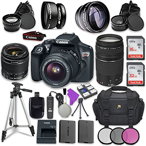 Canon EOS Rebel T6 DSLR Camera with Canon EF-S 18-55mm f/3.5-5.6 IS II Lens + Canon EF 75-300mm f/4-5.6 III Lens + Sandisk 16GB & 32GB Class 10 SD Memory Cards + Accessory Bundle by Canon