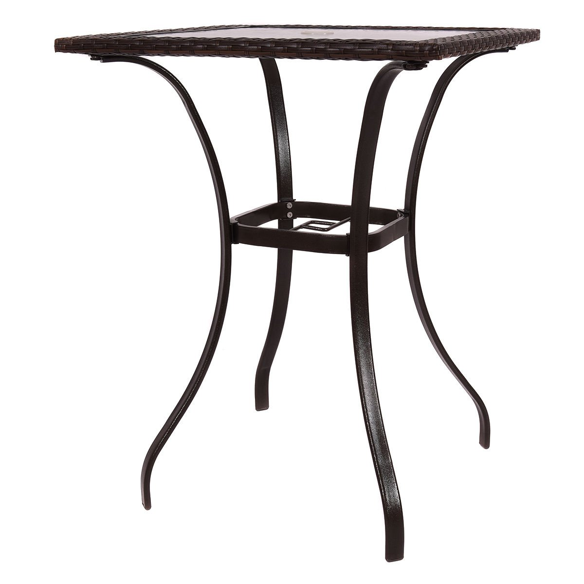 Outdoor patio rattan wicker bar square table glass top yard garden furniture new for Indoor and outdoor use.