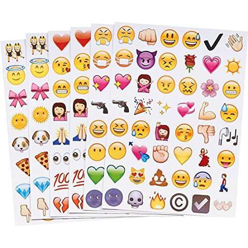 Wise 6 Pages 48 Stick Per Sheet 288 Die Cut Expression for Luggage Cartoon Random Mixed Emoji Stickers ()