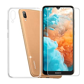 JIENI Funda para Huawei Y6 Pro 2019 Transparente Suave Silicona TPU Cover Caso Bumper Carcasa Case + Cristal Templado Vidrio Protector de Pantalla ...